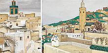 MARGUERITE BARRIÈRE-PRÉVOST (1887-1981) - LES TERRASSES DE FÈZ - LES TERRASSES DE MEKNÈS FEZ TERRACES MEKNÈS TERRACES Deux gouaches ...