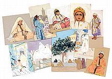 MARGUERITE BARRIÈRE-PRÉVOST (1887-1981) Ensemble de 77 gouaches représentant divers sujets orientalistes. Non signées. Dim div.