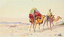 ÉDOUARD HERZIG (1860-1926) CARAVANE DANS LE DESERT CARAVAN IN THE DESERT Crayon et aquarelle signé en bas à droite. À vue : 43 x 71...