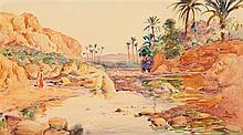 ALPHONSE BIRCK (1859-1942) OASIS AU BORD DE L'OUED OASIS NEAR THE WATER  Aquarelle sur papier signée en bas à droite
