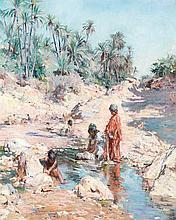 CONSTANT-GEORGES GASTÉ (1869-1910) LAVEUSES BÉDOUINES ARAB GIRLS WASHING Huile sur toile signée, titrée, située Algérie et datée 1897