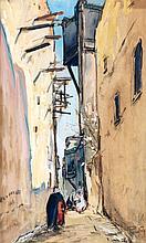 HENRI PONTOY (1888-1968) PROMENADE DANS LA CASBAH STROLLERS IN THE CASBAH Gouache et fusain sur papier signé en bas à droite. À vue ...