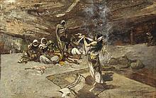 RICARDO PELLEGRINI (1863-1934) et CARLO BUGATTI (1856-1940) DANSEUSE DANS LE CAMPEMENT DANCING GIRL AT CAMP Huile sur toile marouflé...