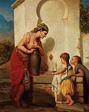 Attribué à HIPPOLYTE LAZERGES (1817-1887) FAMILLE ORIENTALE À LA FONTAINE AN ORIENTAL FAMILY AT THE FOUNTAIN Huile sur panneau