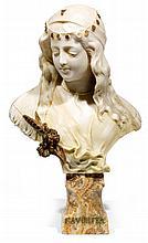 ANTONIO FRILLI (circa 1880-1920) FAVORITA FAVORITA Sculpture en albâtre représentant un buste de jeune orientale, et reposant sur un...