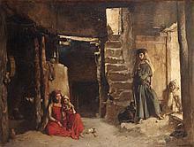 GUSTAVE ACHILLE GUILLAUMET (1840-1887) INTÉRIEUR DE MAISON À BOU-SAADA INSIDE A BOU-SAADA HOME Huile sur toile signée en bas à droite