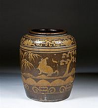 A monumental brown-ground jar, China, Qing dynasty, 19th century. H.29 1/8 in.