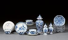 Fifteen blue and white items, China, Qing dynasty, Kangxi period. H.(max) 6 1/8 in.