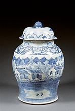 A large blue and white jar and cover, Southern China, Qing dynasty, early 20th century. H.23 1/4 in.