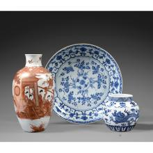 A blue and white jar, China, Qing dynasty, ca. 1900. H.5 5/16 in.