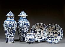 A pair of blue and white and coral dishes, Provincial China, ca. 1900. D.11 in.