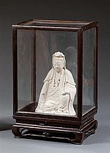 A Blanc-de-Chine figure, China, Qing dynasty, 19th century. H.(Guanyin) 6 1/8 in.