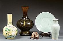 Two celadon items and a mountain in mammoth, China, 20th century. H.(vase) 9 13/16 in.