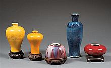 Five glazed vases and water pots, China, early 20th century. H.(max) 9 13/16 in.