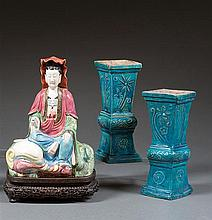 A pair of glazed vases, fanghu, China, Ming dynasty, 17th century. H.8 9/16 in.