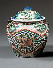 A wucai jar and cover, China, Transition period. H.9 1/16 in.