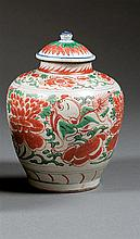 A wucai jar and cover, China, Transition period. H.8 in.