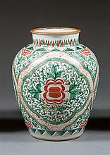 A wucai jar, China, Qing dynasty, 19th century. H.11 1/2 in.