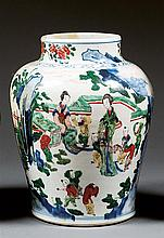 A wucai jar, China, China, Qing dynasty, Kangxi period. H.13 3/8 in.
