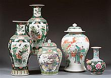 Three Famille Verte style vases and jar, China, 20th century. H.(max) 18 1/8 in.