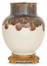 Ernest CHAPLET (1835-1909) Vase balustre en grès porcelainique, ouverture bordée d'un jonc galbé, décor de coulures bleues, vertes e...