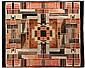 ÉCOLE D'AMSTERDAM Tapis de table ou de chambre, tissage mécanique en velours polychrome, formant composition géométrique de teintes ...