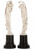 Attribué à Charles-Auguste Fraikin (1817-1893) L'Aurore et le Crépuscule Paire de sculptures en ivoire représentant des nymphes...