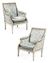 A pair of Louis XVI white-painted bergeres stamped by Tilliard,  18th century. HEIGHT. 37 1/64 IN. - WIDTH. 26 3/8 IN. - DEPTH. 25 63/6