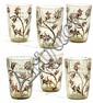 Émile GALLÉ (1846-1904) Suite de six verres évasés à corps côtelé en verre fumé translucide, à décor émaillé polychrome de branches ...