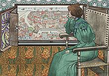 estampe moderne SOUS LES FLEURS par Edmond Aman-Jean - ALBINE par Albert-émile Artigue