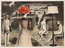 PAUL DELVAUX LE JARDIN. 1971. (M. Jacob 48) 550 x 750. Lithographie en couleurs. Épreuve signée, annotée E/A en dehors du tirage à 7...