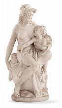 Albert Ernest Carrier Belleuse (1824-1887) VENUS DESERMANT L'AMOUR Groupe en marbre blanc Signé A. CARRIER BELLEUSE sur le bord de l...