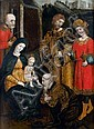 École PIEMONTaiSE vers 1500, entourage de Girolamo GIOVENONE L'Adoration des Mages Panneau de noyer, une planche, non parqueté 65 x ...