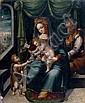 École ESPAGNOLE du XVIème siècle suiveur de Juan de BORGOGNA La Vierge à l'Enfant avec saint Joseph et saint Jean-Baptiste Panneau d...