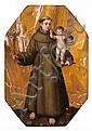 école romaine du xviième siècle, entourage du cavalier d'arpin Saint Antoine de Padoue tenant l'Enfant Jésus Jaspe brun de forme oct...