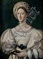 école italienne du XVIème siècle, suiveur de Parmigianino Portrait de dame à la coiffe blanche Panneau transposé sur toile 77 x 55 c...