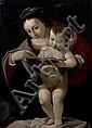 école BOLONAISE du XVIIème siècle, atelier du GUERCHIN la Vierge à l'enfant Toile 77 x 56 cm Restaurations anciennes et manques Dans...