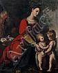 Attribué à Gregorio PAGANI (1558 – 1605) La Sainte Famille et saint Jean-Baptiste Toile 145 x 117 cm Au revers du châssis, ancienne ...