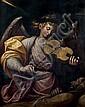 guglielmo caccia dit il moncalvo (Montabone 1568 - Moncalvo 1625) L'ange musicien consolant saint François d'assise Toile 121 x 98 c...