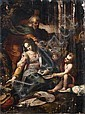 École ITALIENNE vers 1580, suiveur de Federico BAROCCI Le Repos pendant la fuite en Egypte Toile 113 x 83,5 cm Coulures, accidents e...