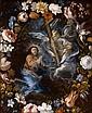 Attribué à Alonso CANO (1601 – 1667) Le Christ au jardin des Oliviers dans une guirlande de fleurs Toile, réduite sur les bords 62 x...
