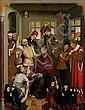 École ALLEMANDE vers 1530 La passion du Christ Panneau de chêne, parqueté 99 x 76,5 cm Restaurations, soulèvements et manques