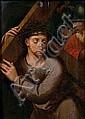 École FLAMANDE du XVIème siècle, suiveur de Michel COXCIE Le Christ portant la Croix Panneau de chêne, parqueté 41,5 x 30 cm Fentes ...