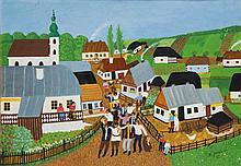 Helena Jaurisova (née en 1904) Fête champêtre, 1972 Huile sur carton  Signée et datée
