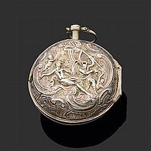BURTON LONDON, XVIIIème siècle Montre oignon à double boîtier repoussé en argent figurant une scène à l'antique. Cadran émail blanc ...