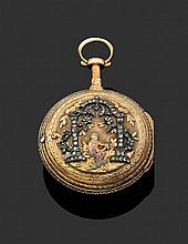 LEPINE à PARIS SECONDE MOITIé DU XVIIIème siècle Montre de poche deux tons d'or époque Louis XVI. Lunette ciselée et sertie de brill...