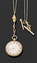 LEROY & FILS, Hgers DU ROI, à PARIS PREMIèRE MOITIÉ DU XIXème siècle Petite montre de poche plate en or jaune époque Empire. Cadran ...