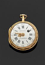 DIDELOT à LAFERE/ VALENTIN & COMP. A FERNEY SECONDE MOITIÉ DU XVIIIème siècle Montre de poche en or époque Louis XVI. Lunette ciselé...