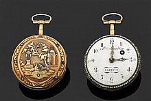 FRERES BORDIER à GENÈVE SECONDE MOITIÉ DU XVIIIème siècle Montre de poche en or rose époque Louis XVI. Lunette sertie de brillants. ...