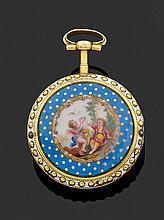 GUERIN à PARIS SECONDE MOITIÉ DU XVIIIème siècle Montre de poche en or époque Louis XVI. Lunette perlée sur émail blanc (manques). R...